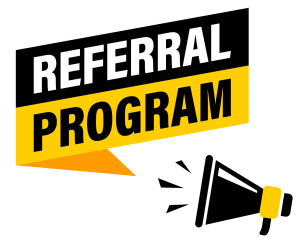 A referral program logo with a microphone at the bottom.