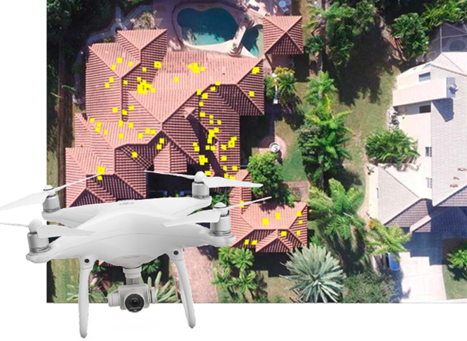 A drone used for a roof inspection in front of an inspection report photo.