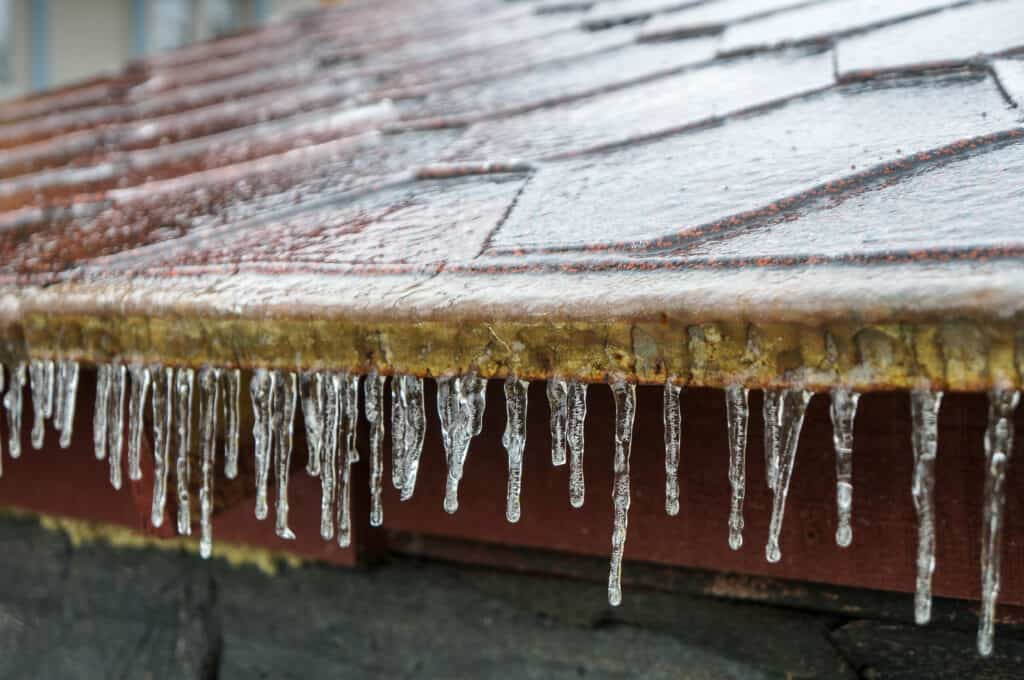 icy roof shingles