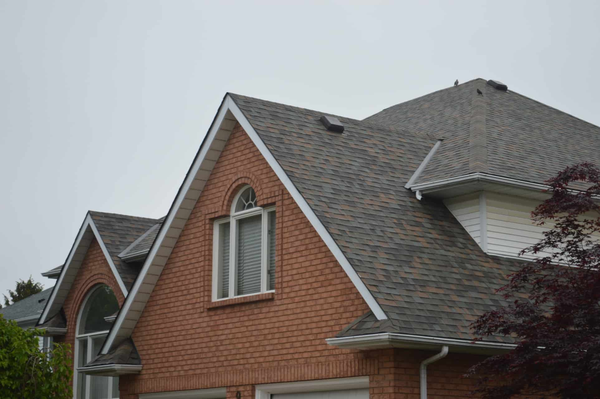 older roof with discolored spots